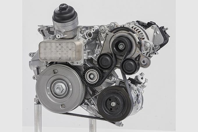 Базовый вариант стартер-генератора с ременным приводом; позволяет рекуперировать до 80% энергии торможения; в режиме электродвигателя добавляет на коленвал от 14 до 20 л.с.